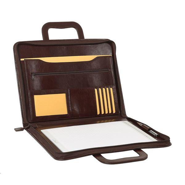 תמונה של פולדר A4 מעור עם רוכסן 10.104.141 חום כהה