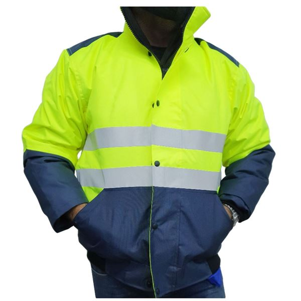 תמונה של מעיל מרופד עם פסים מחזירי אור 8266 M צהוב